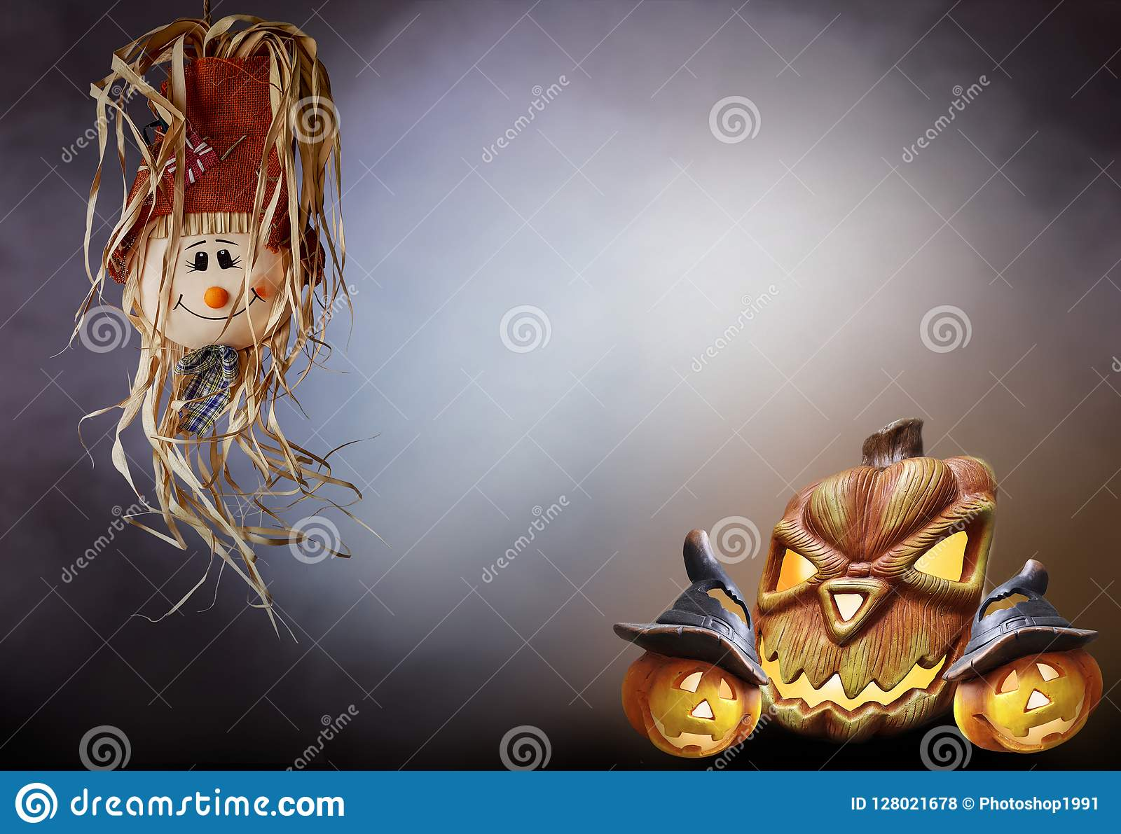 Halloween strawberry doll with pumpkins smoke background horror text