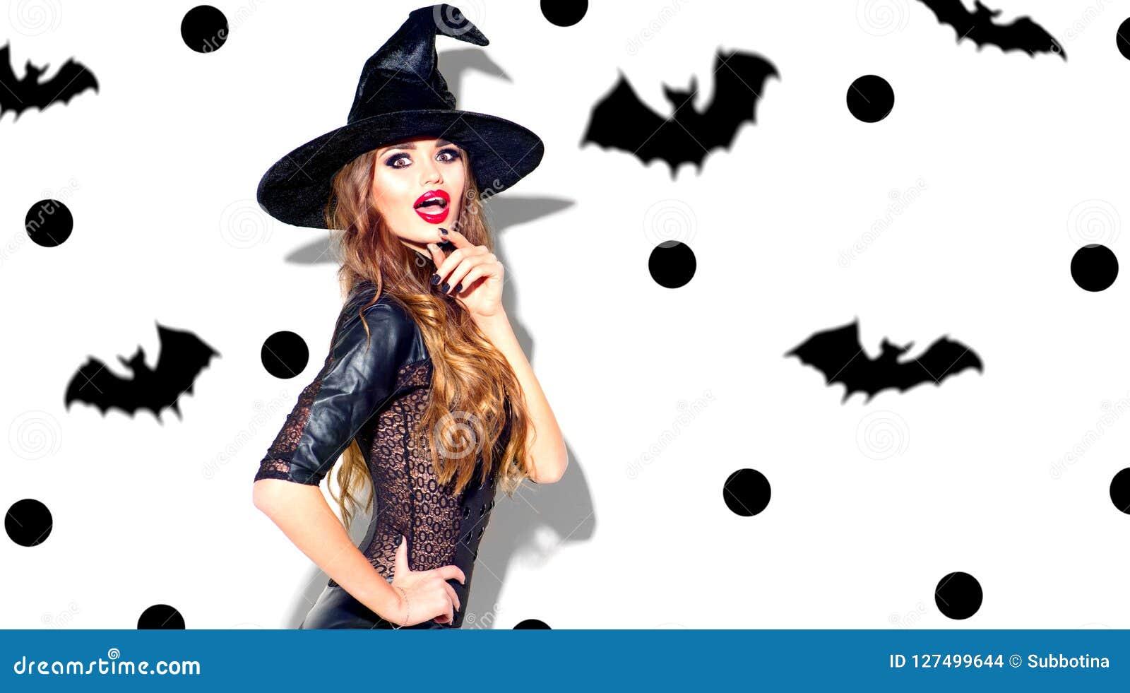 Vestiti Halloween Strega.Halloween Strega Sexy Con Trucco Luminoso Di Festa Bella Giovane