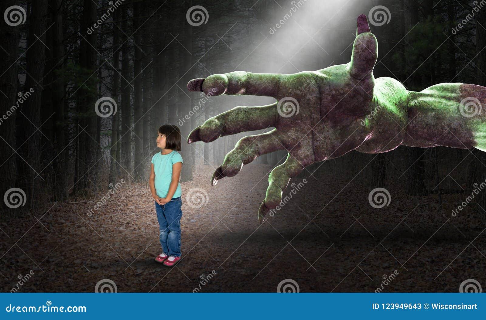 Halloween surrealista, muchacha, niñez, pesadilla, terror, horror