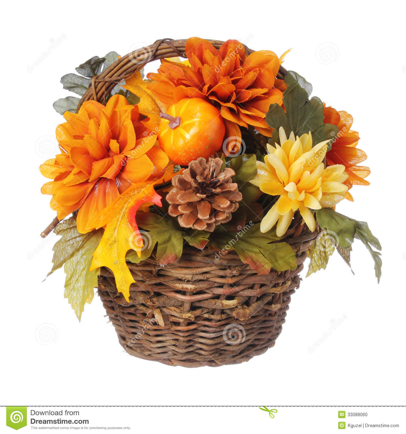 Halloween Or Thanksgiving Bouquet With Pumpkin And Autumn Flowers In