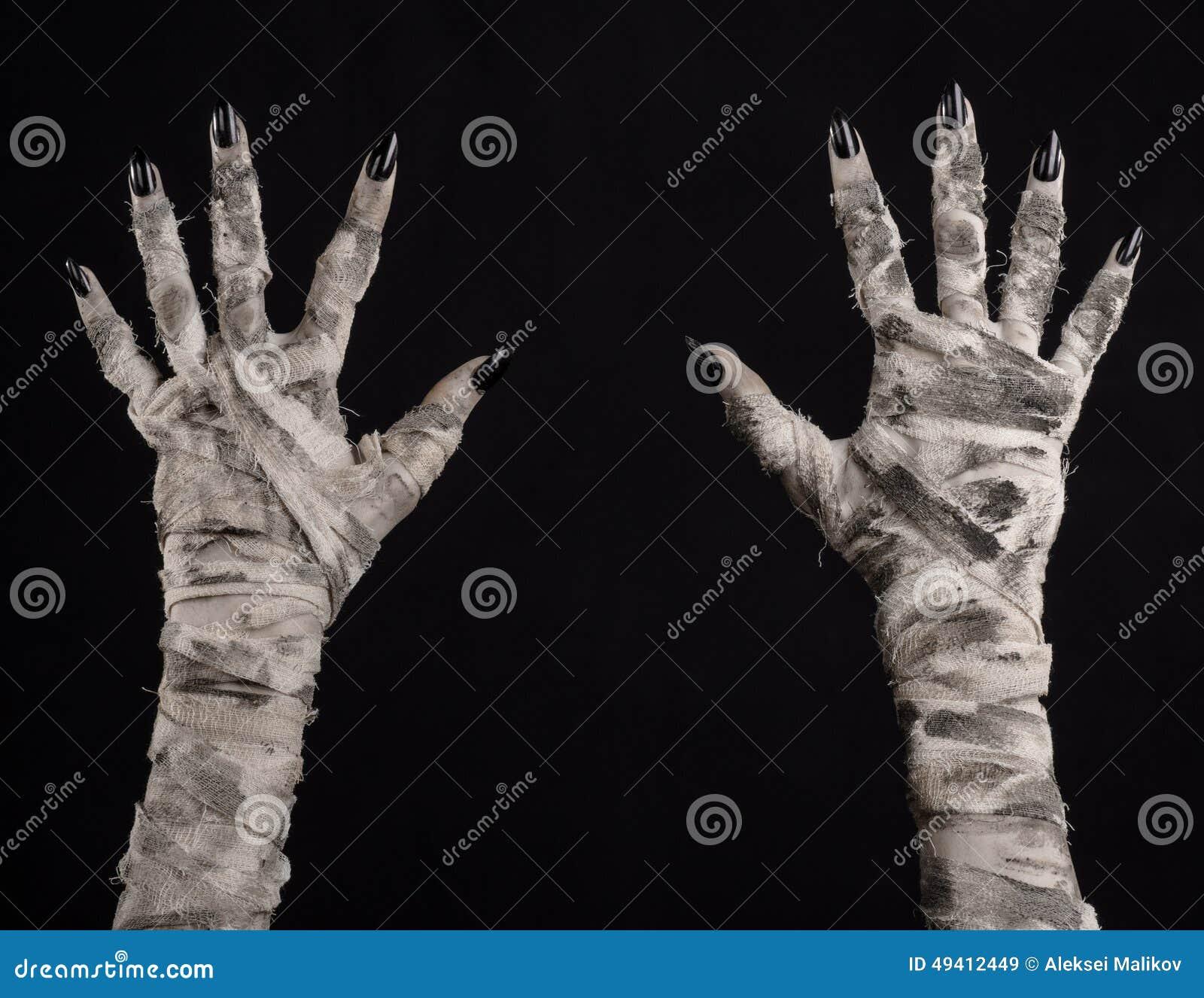 Download Halloween-Thema: Schreckliche Alte Mamahände Auf Einem Schwarzen Hintergrund Stockbild - Bild von dämon, krypta: 49412449