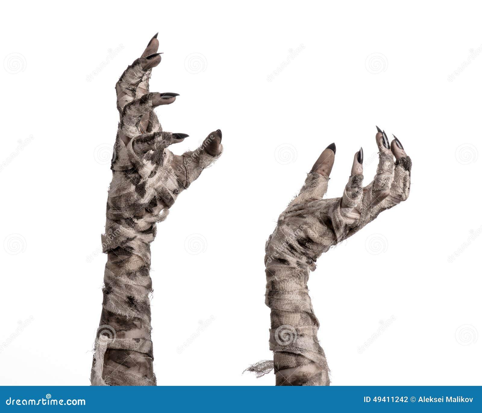 Download Halloween-Thema: Schreckliche Alte Mamahände Auf Einem Weißen Hintergrund Stockfoto - Bild von halloween, ägyptisch: 49411242