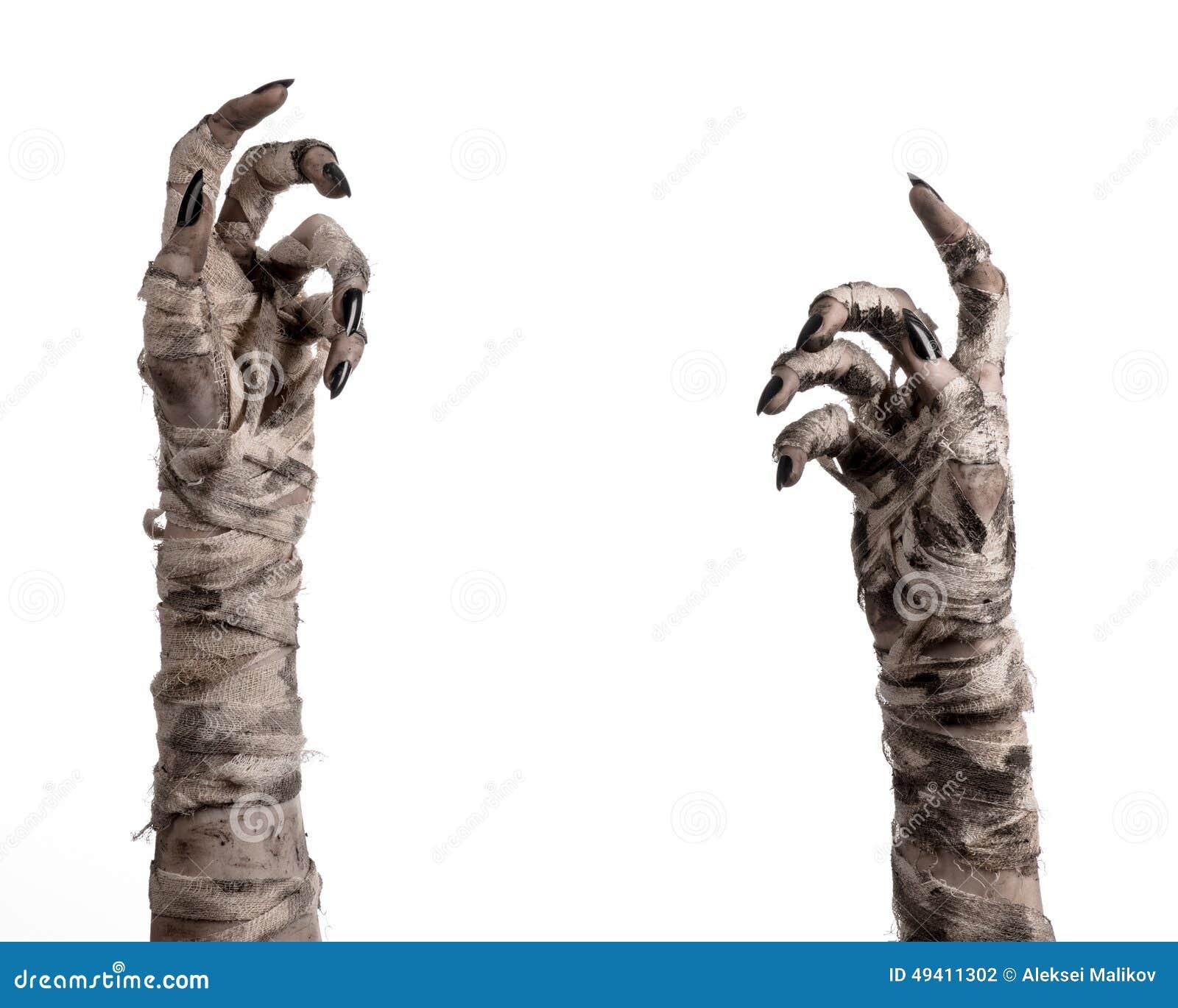 Download Halloween-Thema: Schreckliche Alte Mamahände Auf Einem Weißen Hintergrund Stockfoto - Bild von übel, geschöpf: 49411302