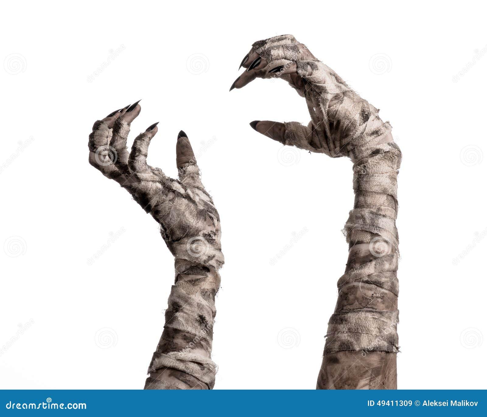 Download Halloween-Thema: Schreckliche Alte Mamahände Auf Einem Weißen Hintergrund Stockbild - Bild von grausigkeit, hintergrund: 49411309