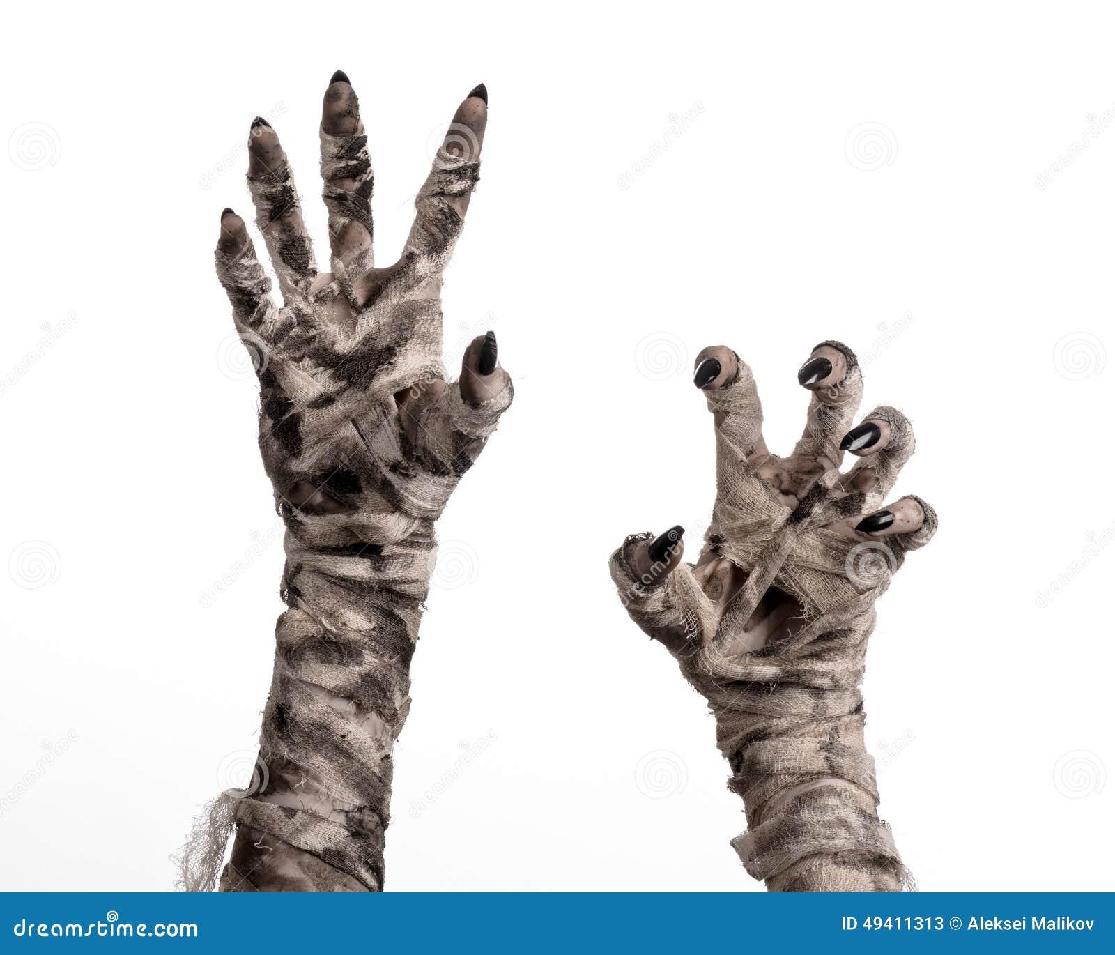 Download Halloween-Thema: Schreckliche Alte Mamahände Auf Einem Weißen Hintergrund Stockbild - Bild von mama, krypta: 49411313