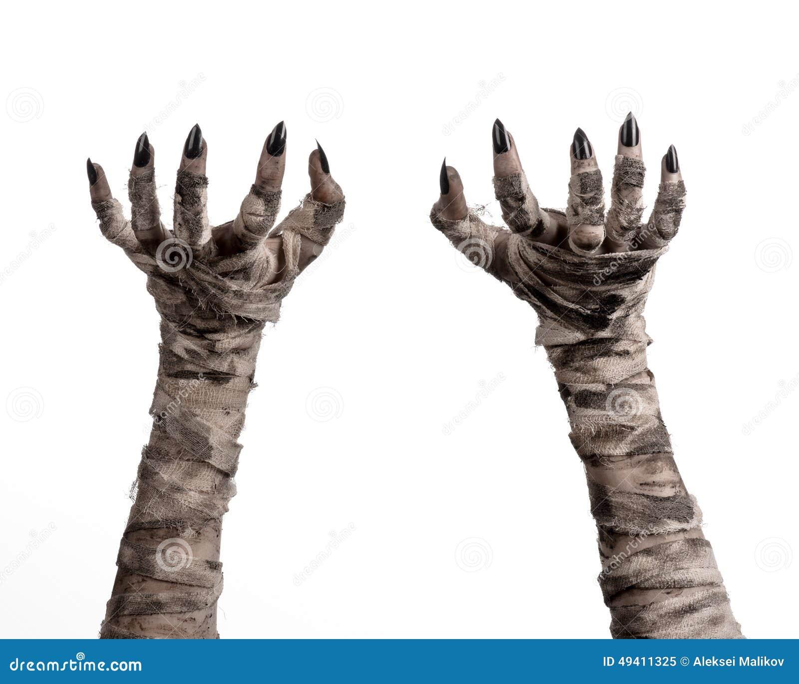 Download Halloween-Thema: Schreckliche Alte Mamahände Auf Einem Weißen Hintergrund Stockbild - Bild von leiche, geschöpf: 49411325