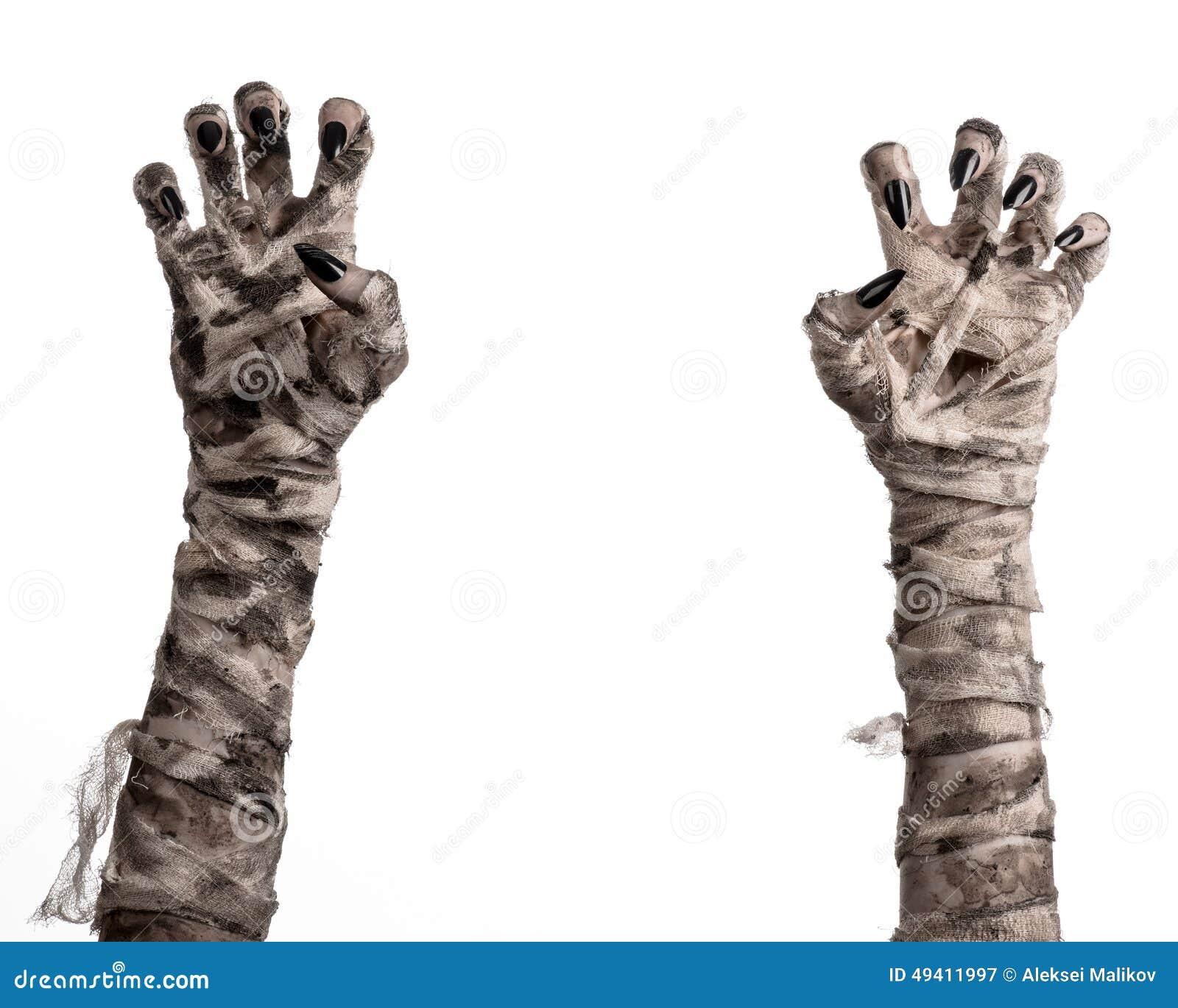Download Halloween-Thema: Schreckliche Alte Mamahände Auf Einem Weißen Hintergrund Stockbild - Bild von mummified, furcht: 49411997
