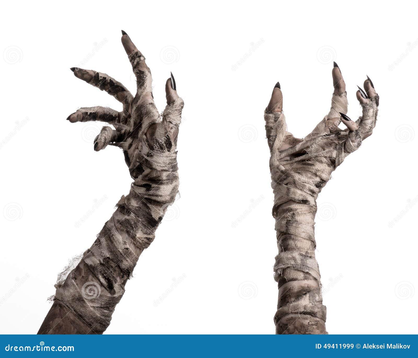 Download Halloween-Thema: Schreckliche Alte Mamahände Auf Einem Weißen Hintergrund Stockbild - Bild von furcht, geschöpf: 49411999