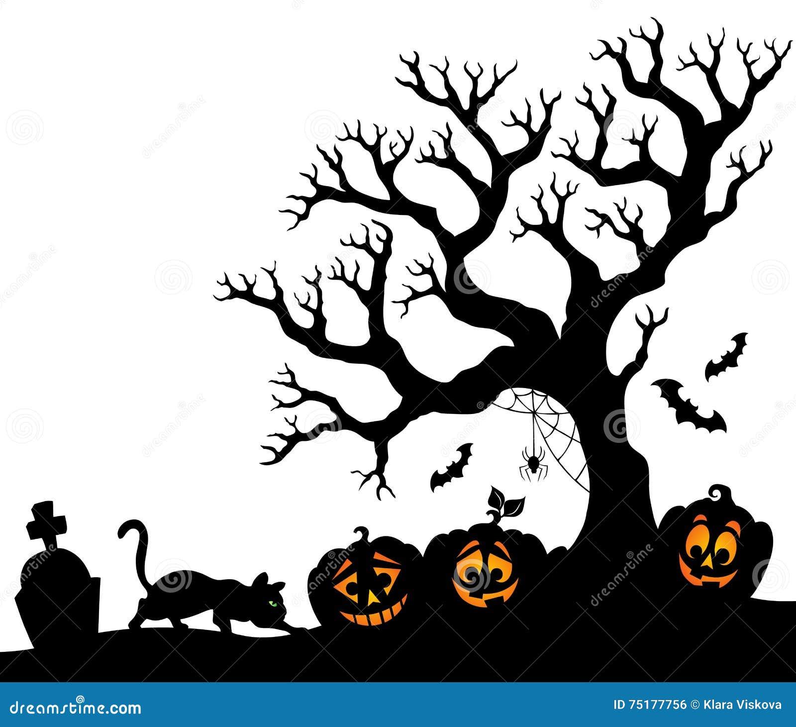Halloween Thema.Halloween Thema 1 Van Het Boomsilhouet Vector Illustratie