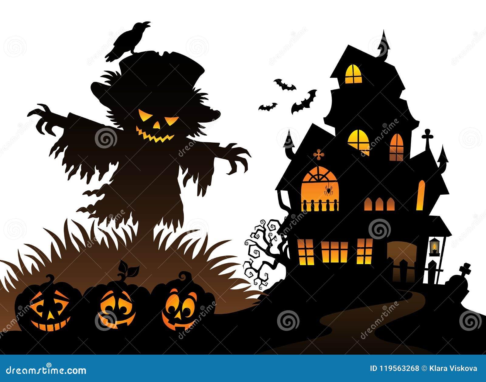 Halloween-thema 3 van het vogelverschrikkersilhouet