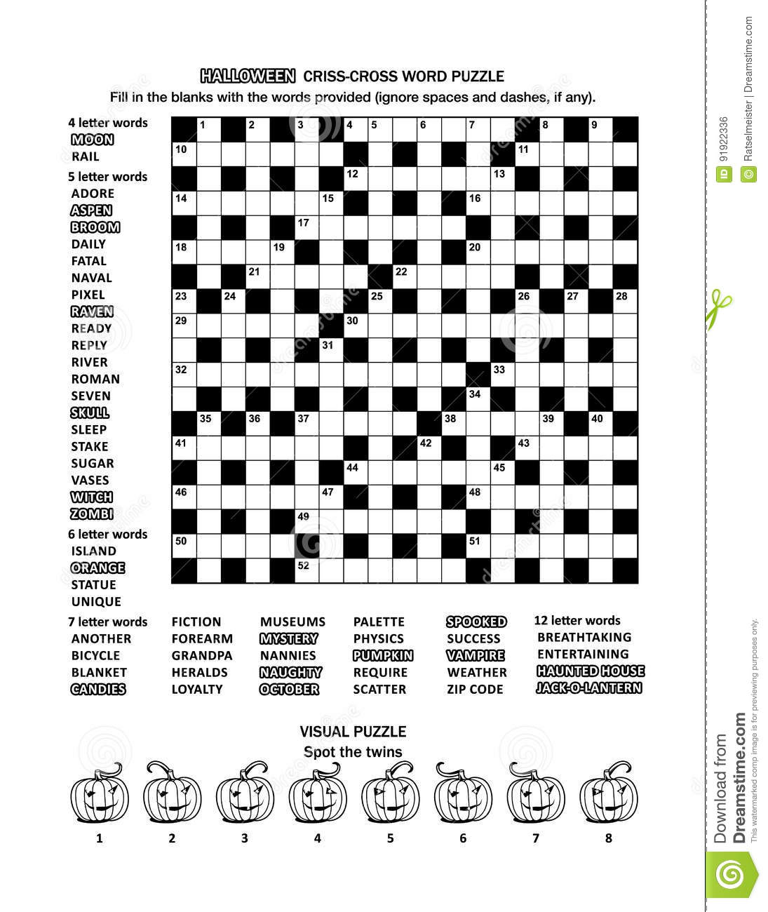 Halloween Themed Puzzle Page With Word Game And Picture Riddle ...