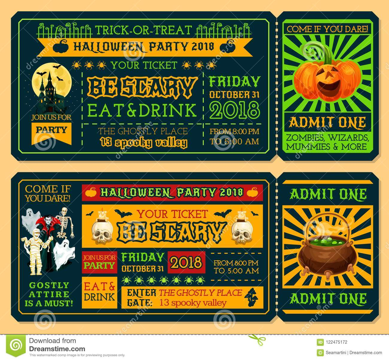 halloween ticket template for horror night party stock vector