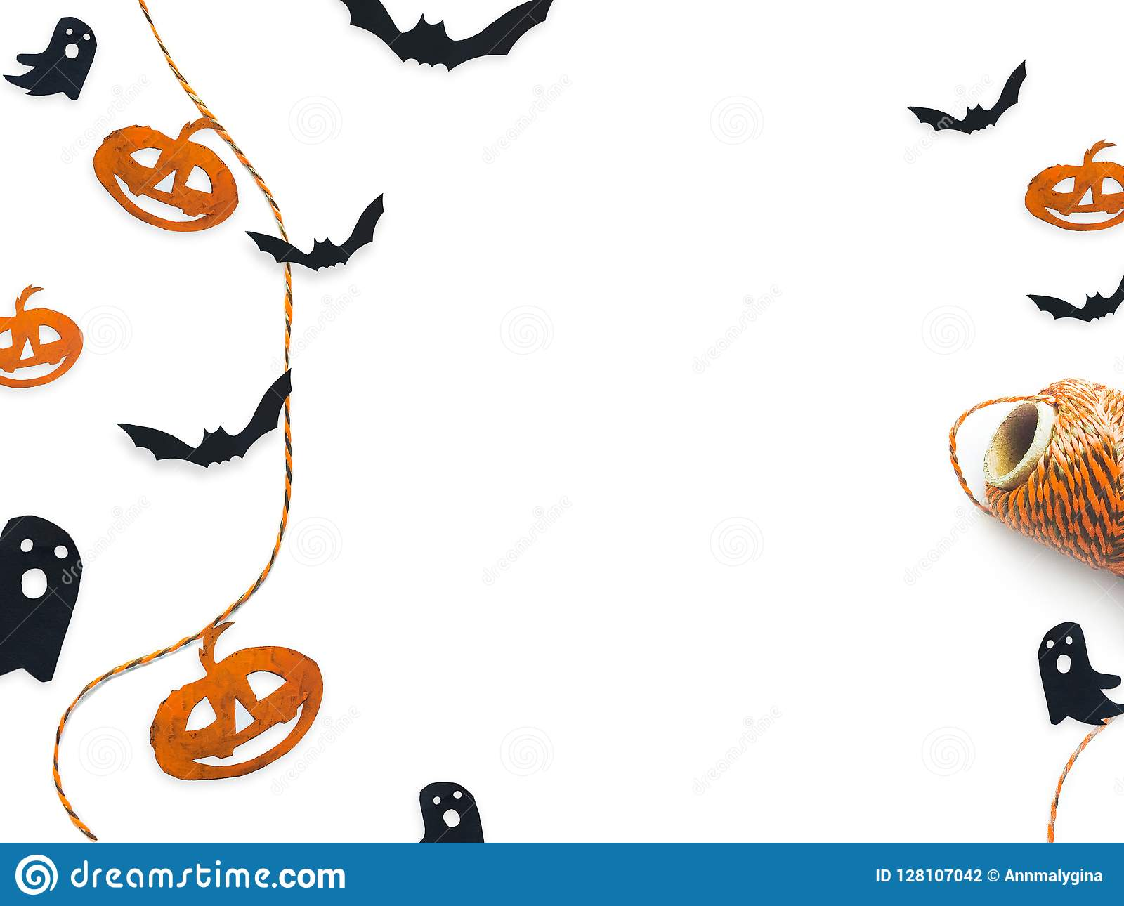 Halloween top view decorative mock up isolated on white.