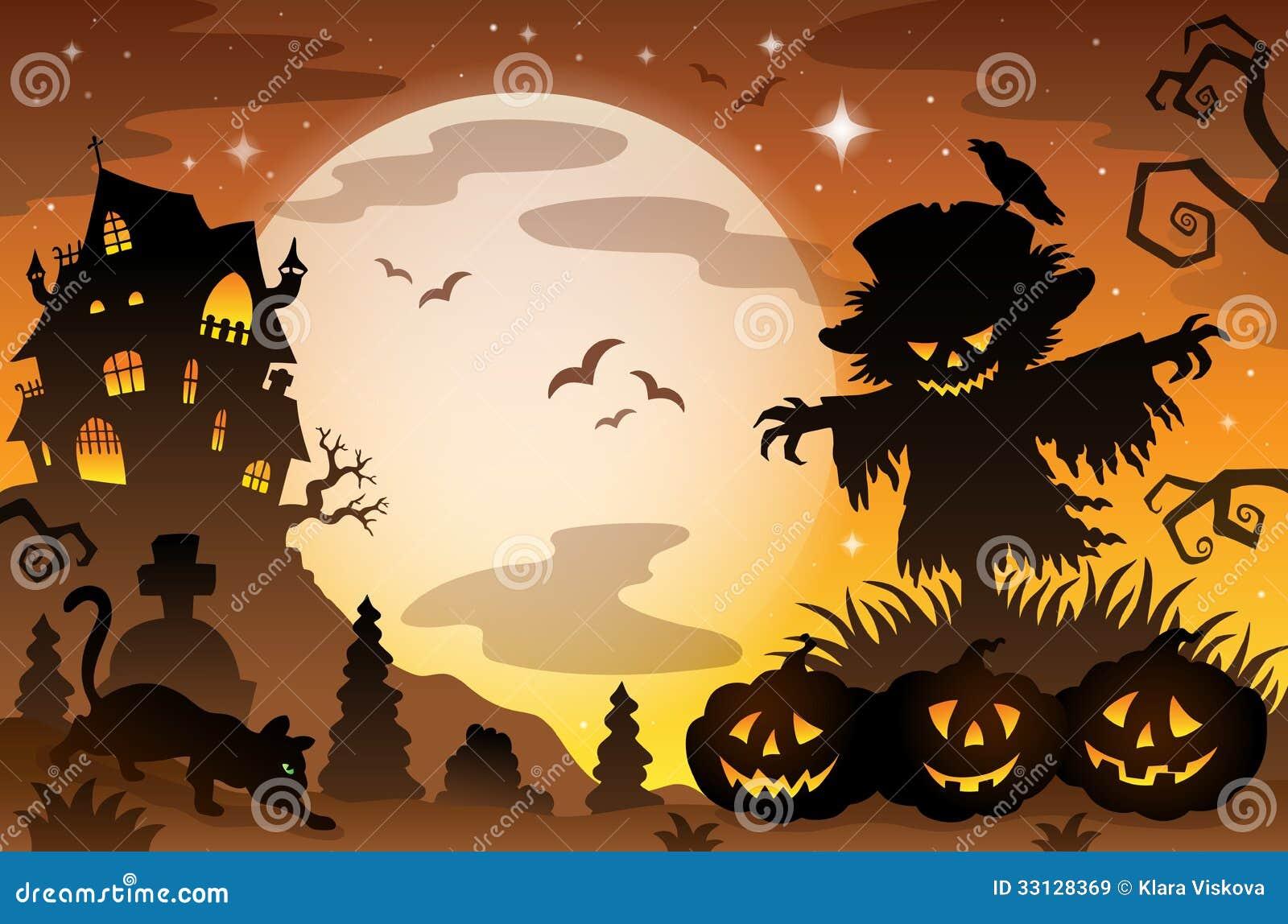 Halloween Topic Scene Eps Vector Illustration