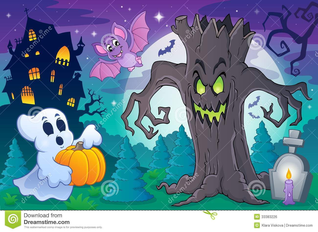 Halloween topic scene 6 - eps10 vector illustration.