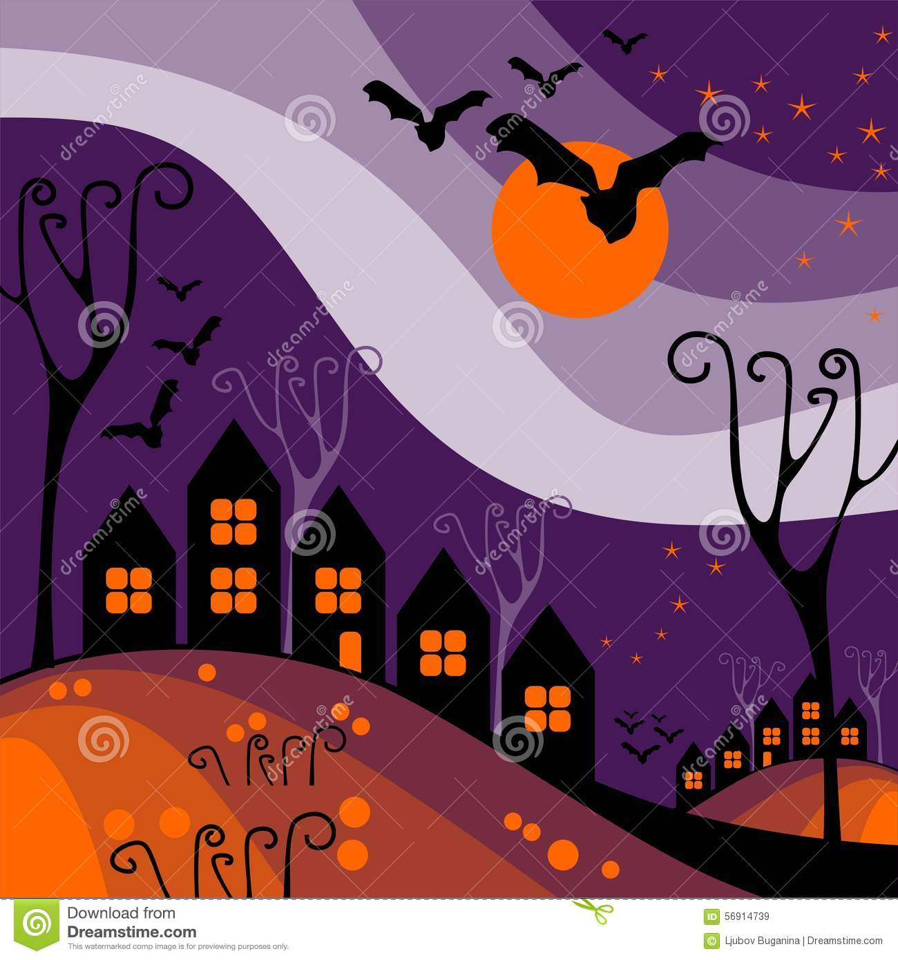 halloween town stock vector. illustration of building - 56914739