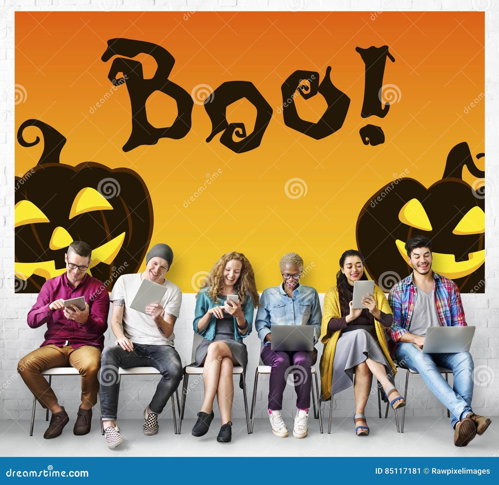 Halloween-Trick-Festlichkeits-gespenstisches gruseliges Kürbis-Konzept