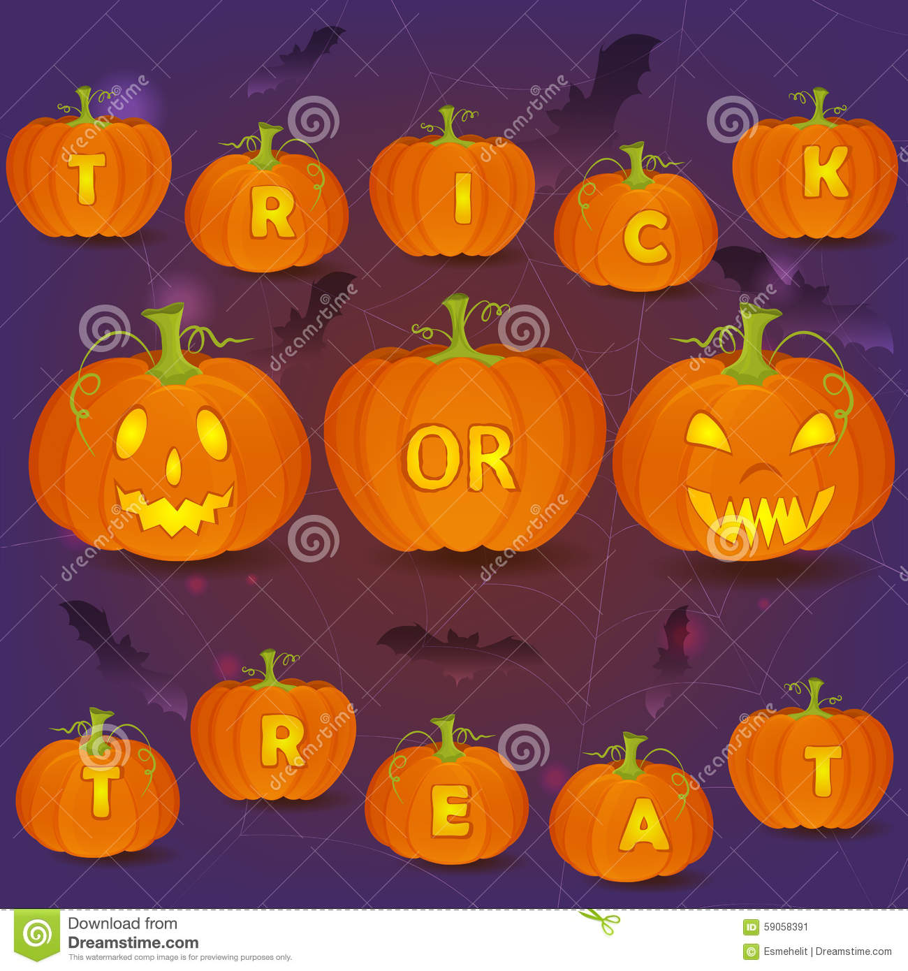 Halloween Trick Or Treat Card Template Stock Vector - Illustration ...