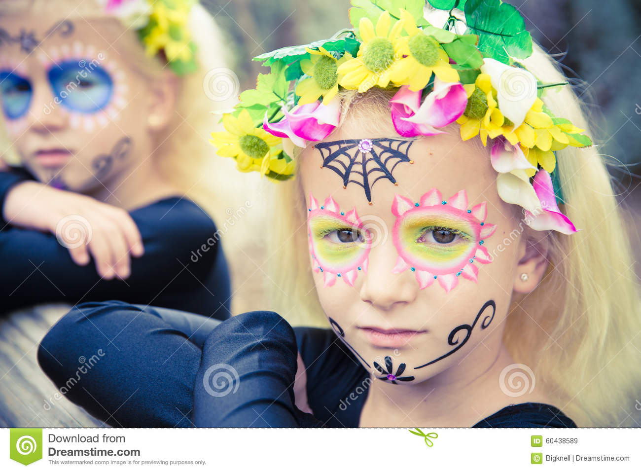 halloween twin sister looking at camera stock image - image of