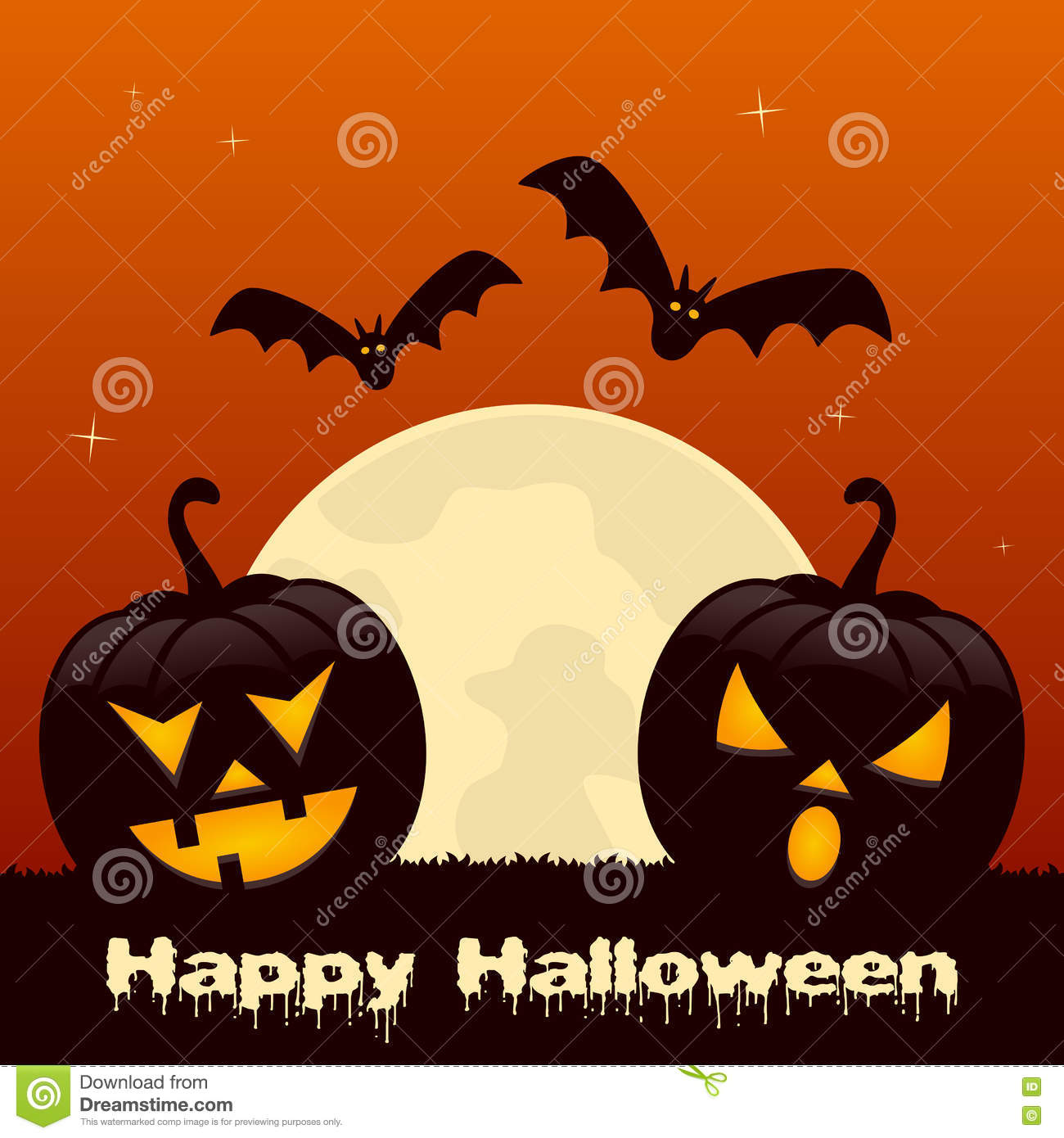 halloween with two pumpkins and bats stock vector illustration of
