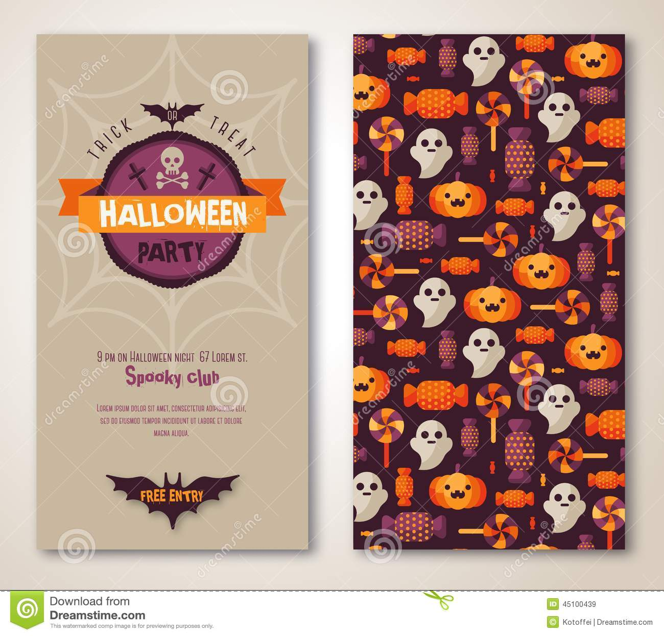 Halloween Two Sides Poster Or Flyer. Stock Vector ...
