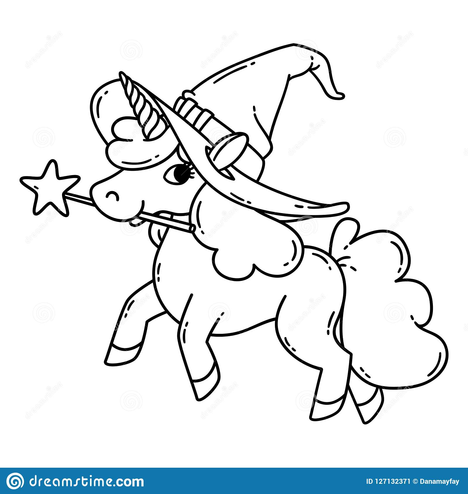 Halloween Unicorn With Magic Wand And Witch Hat Stock