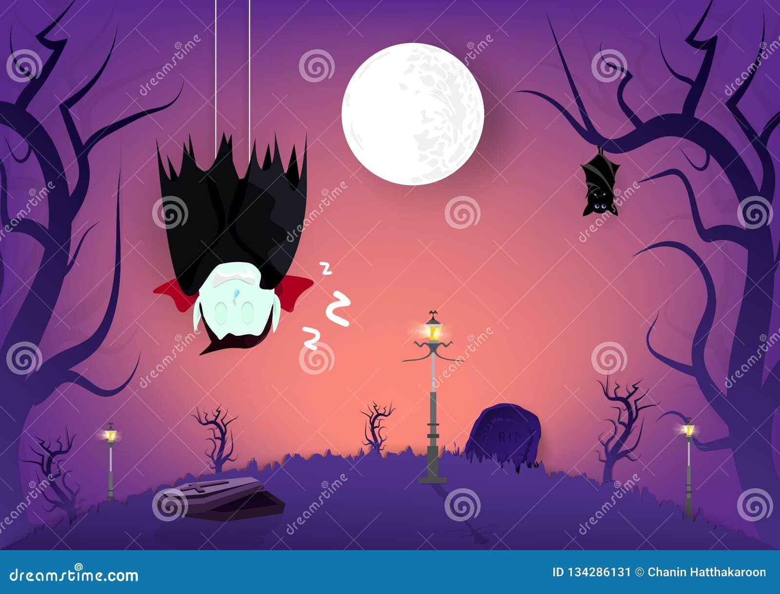 Halloween, vampier en knuppels die in de marionettenkarakters van het kerkhof donkere bosbeeldverhaal slapen, de kaartsamenvattin