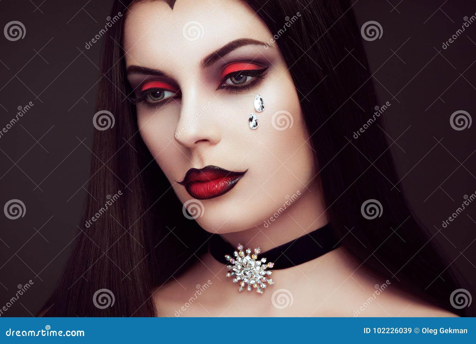 Halloween Vampire Woman Portrait Stock Image