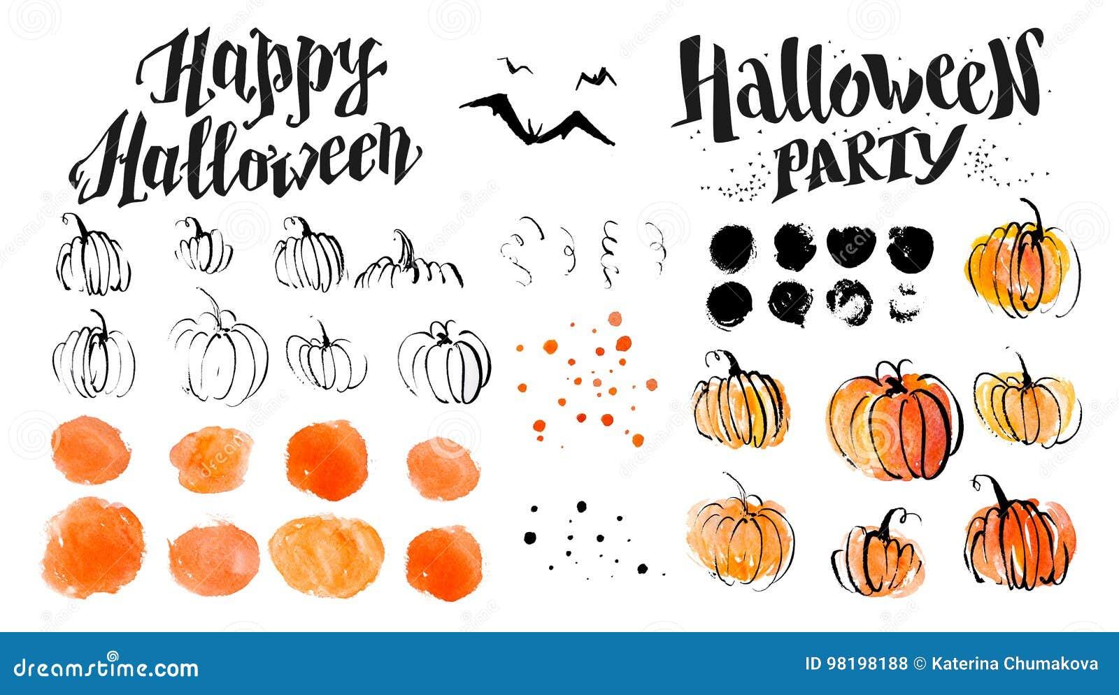 Halloween-van de waterverfhand getrokken artistieke pompoen en verschrikking decoratieelementen op witte achtergrond