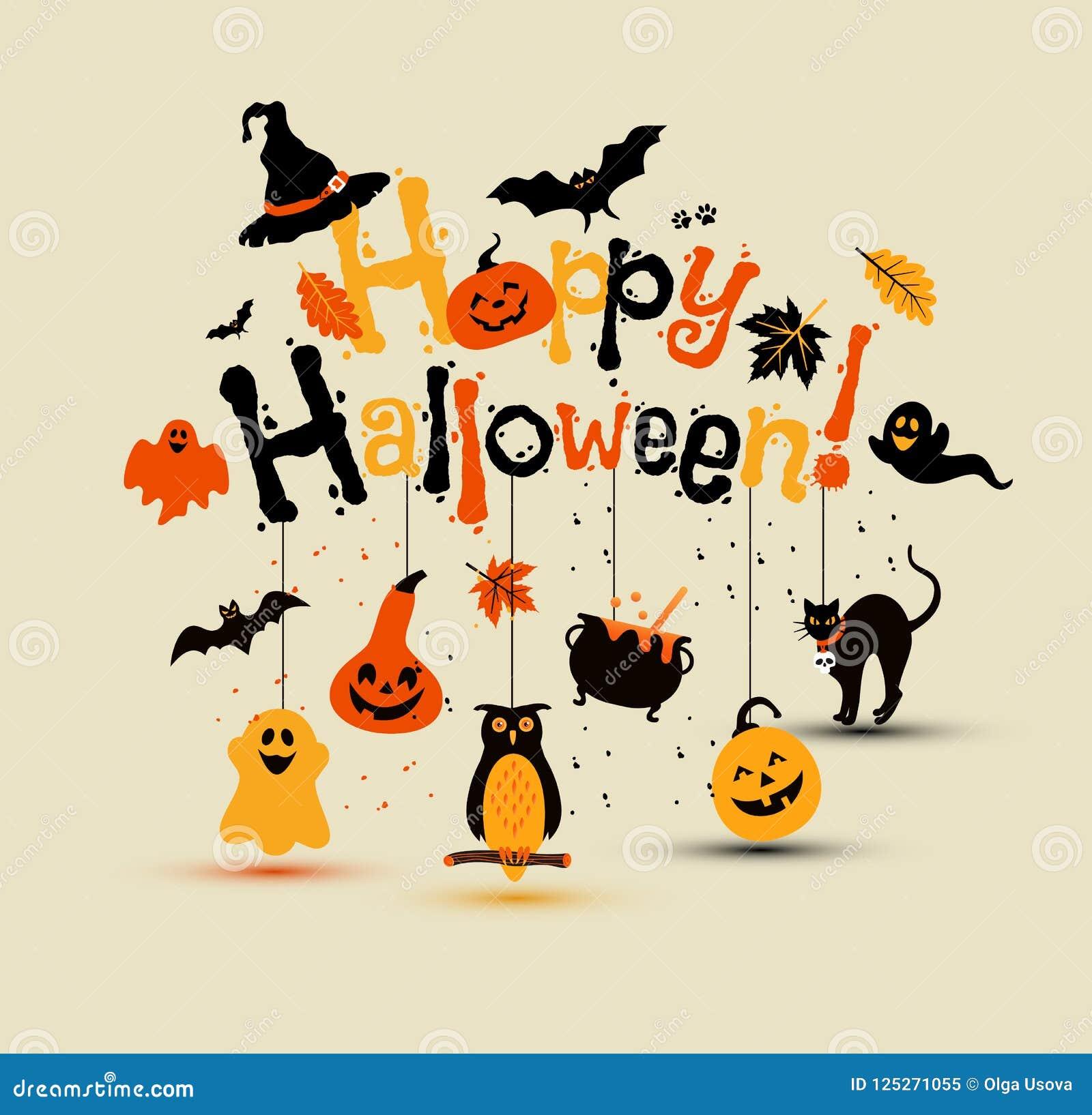 Halloween Vector Design With Happy Halloween Lettering Stock Vector Illustration Of Fall Dark 125271055