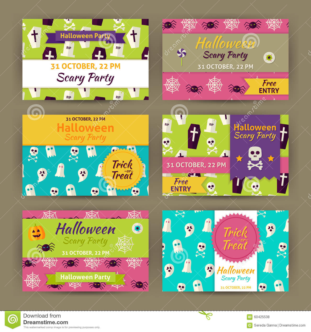 Trick Or Treat Halloween Party Invitation Vector Template Flyer ...