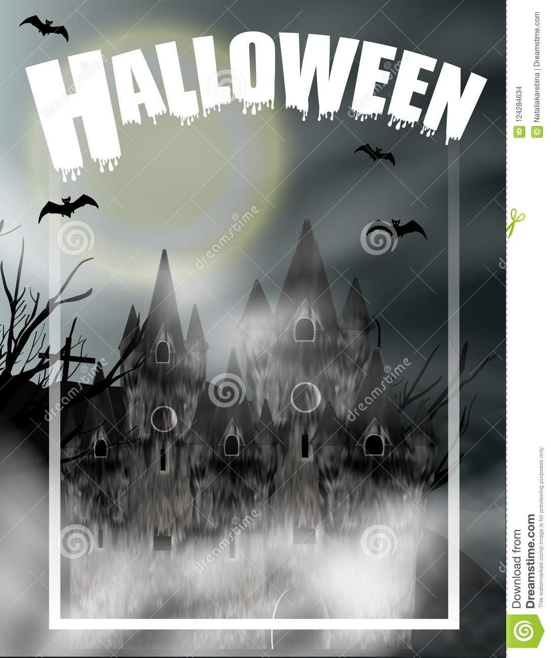 halloween vertical background with gothic castle in fog and full