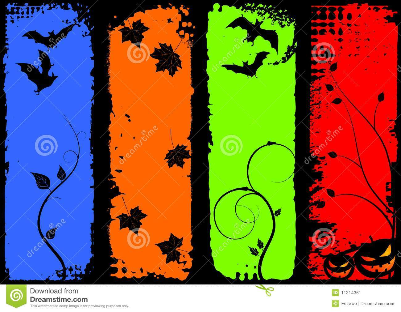 halloween vertical banners  set stock vector