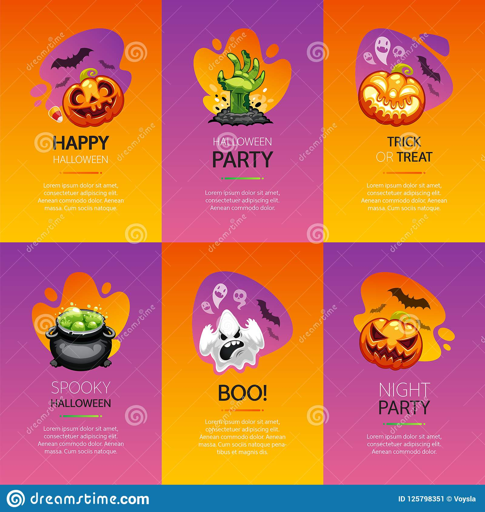Halloween greeting cards colorful set stock vector illustration of download halloween greeting cards colorful set stock vector illustration of boiler graphic 125798351 m4hsunfo