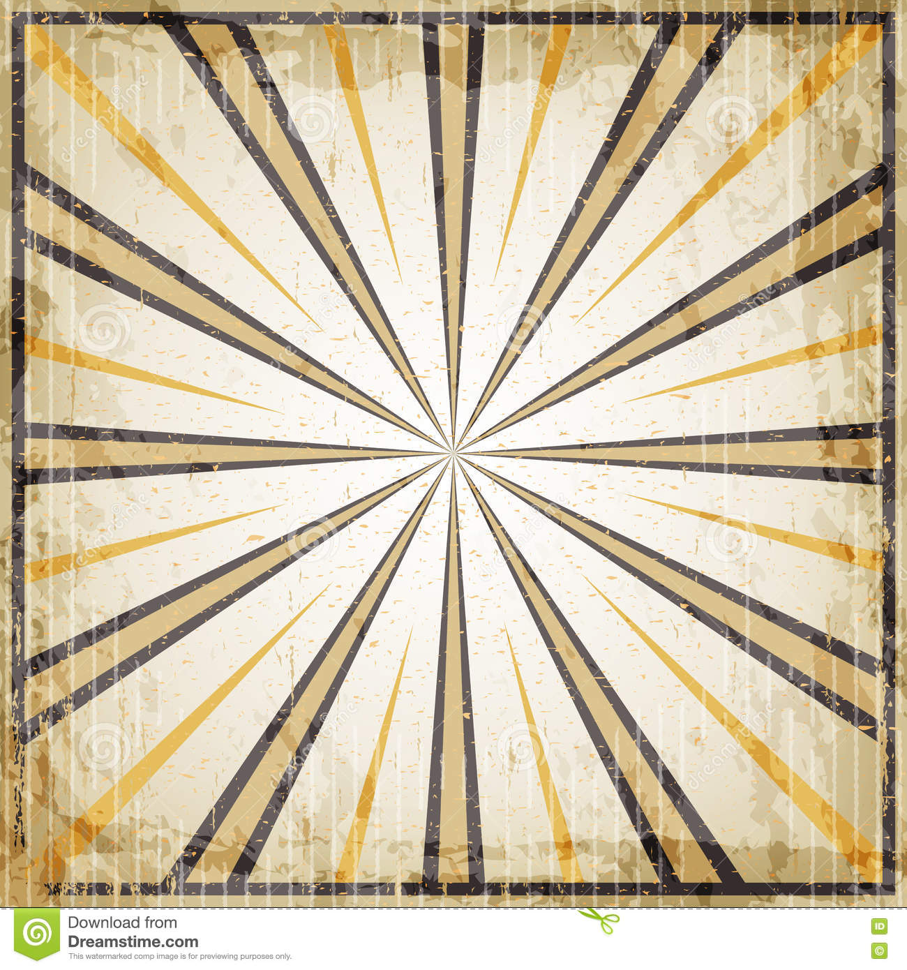 Download halloween vintage art deco background black and orange rays old paper stock