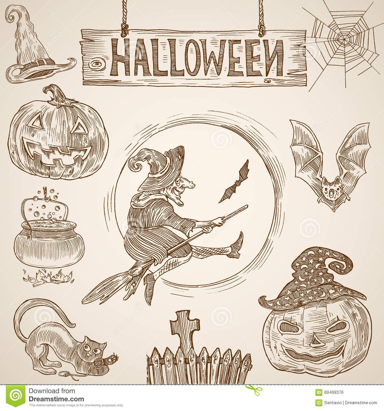 halloween vintage engraving witch bat pumpkin cemetery cobweb clip art background cobweb clipart