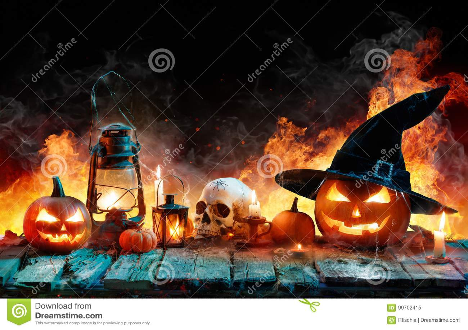 Halloween in Vlam - Brandende Pompoenen