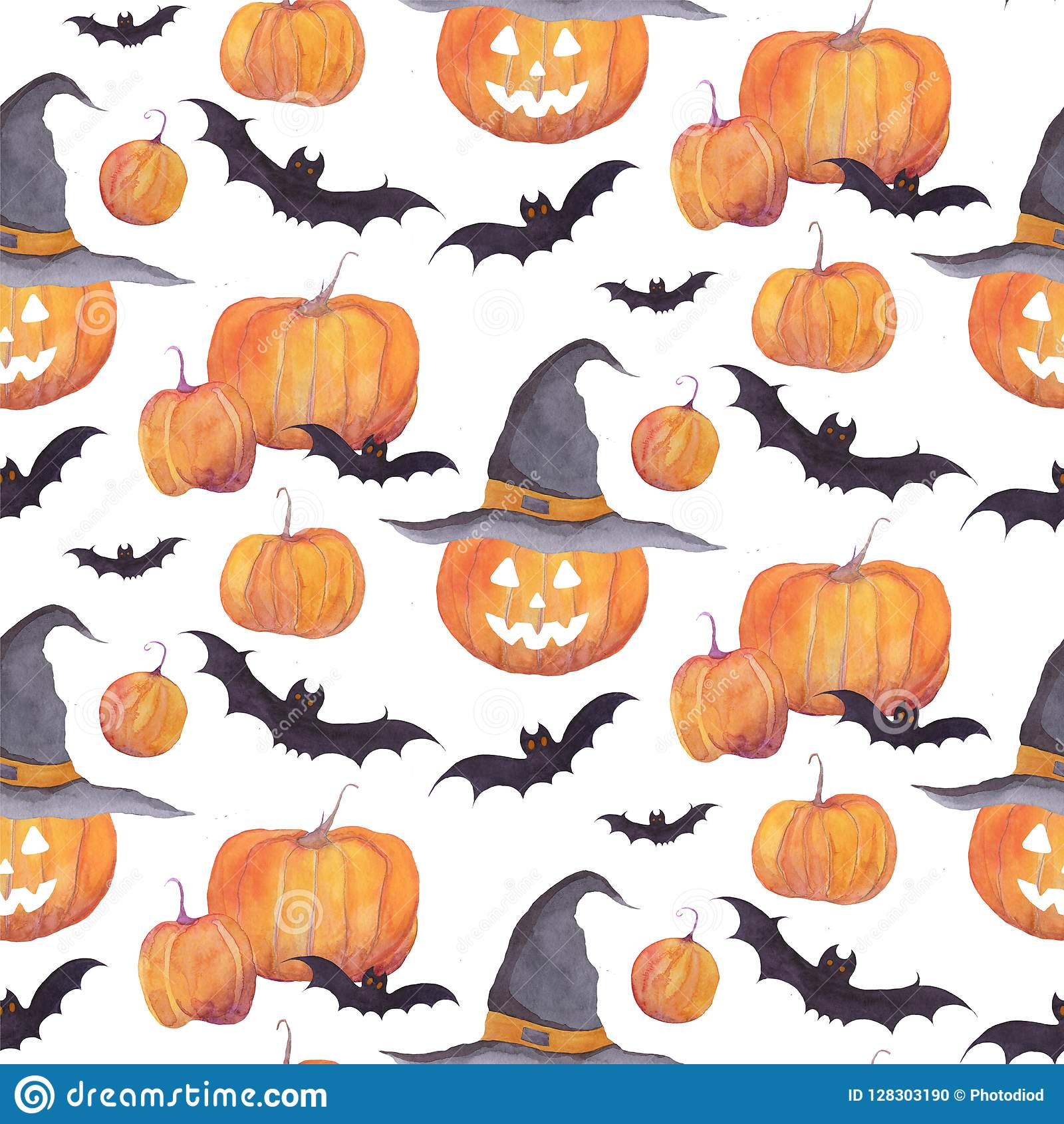 Halloween Watercolor Pattern With Pumpkins, Bats, Funny