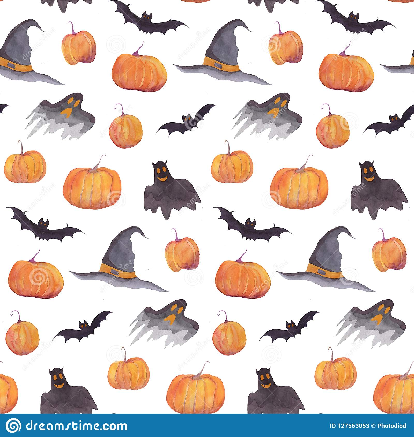 halloween watercolor pattern with pumpkins bats funny ghosts and