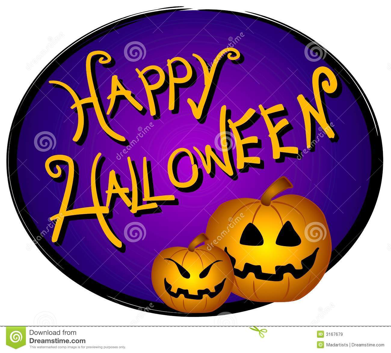 clip art illustration of a Happy Halloween banner, logo or sign with ...