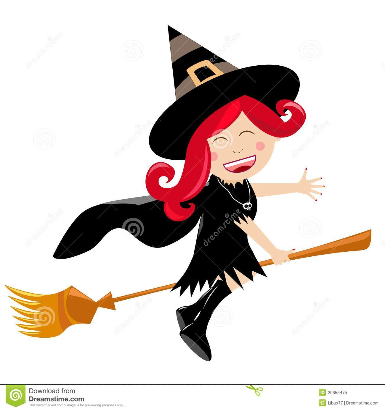 Happy Halloween Child Witch Flying On Broom Royalty Free Stock ...
