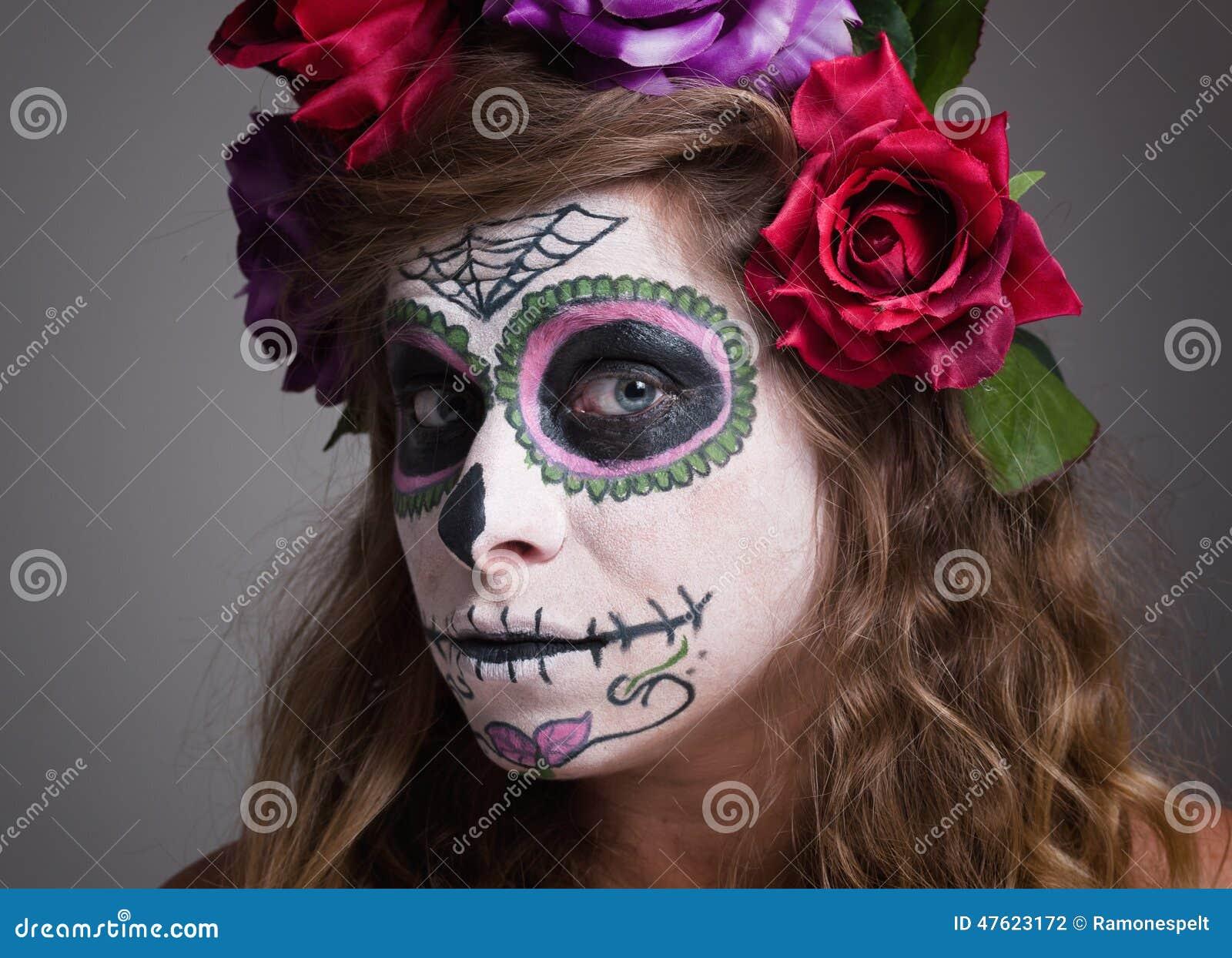 Halloween Witch. Beautiful Woman Wearing Santa Muerte Mask Portr ...
