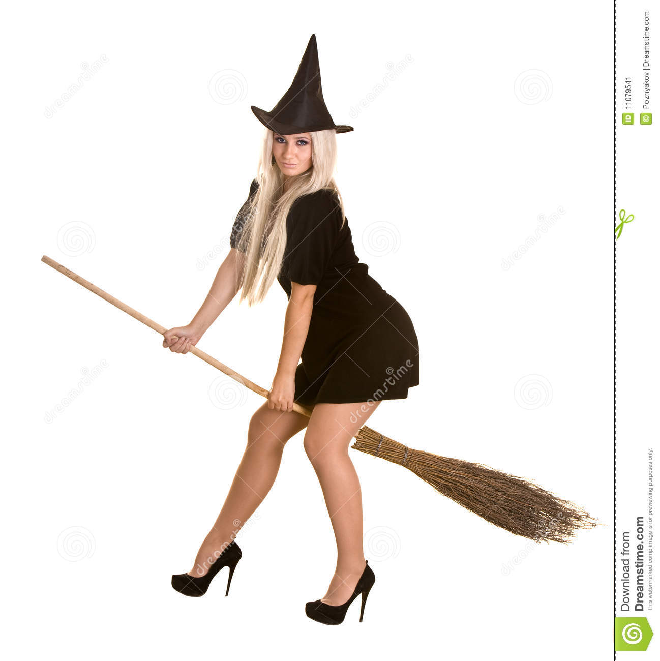 Halloween Witch In Black Dress And Hat, Broom. Stock Image - Image ...