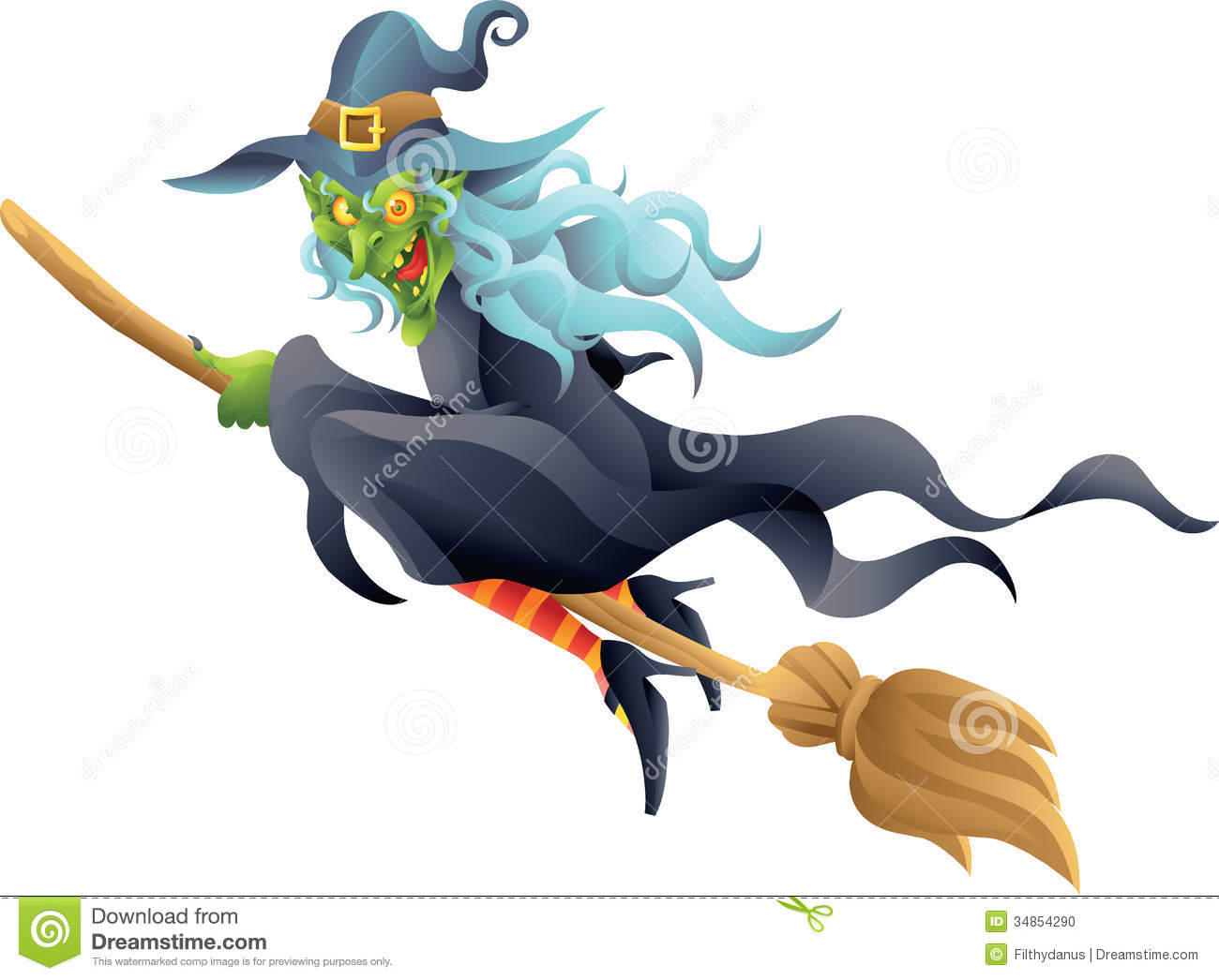 Halloween Witch On Broom Stock Photo - Image: 34854290 Broom Clipart Black And White