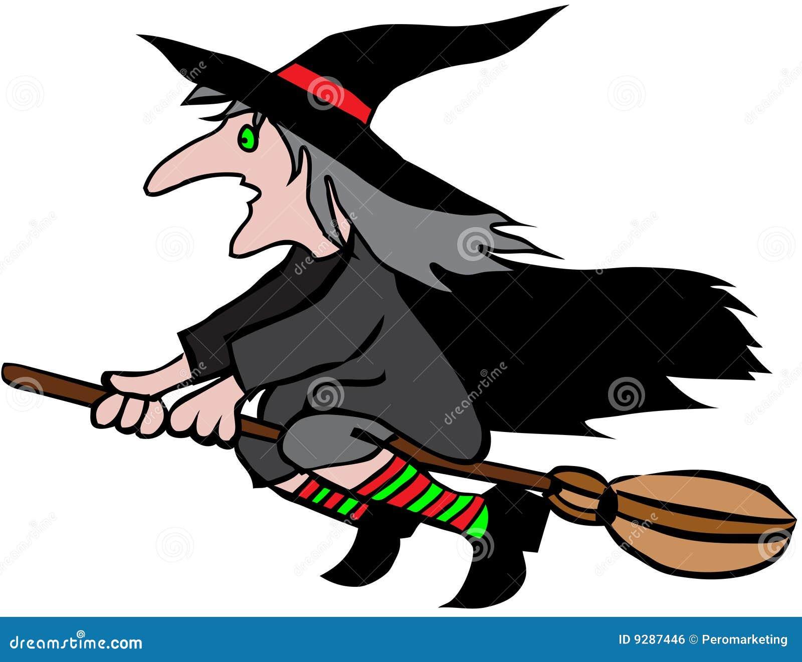 broomstick cartoon flying halloween witch - Halloween Witch Cartoon
