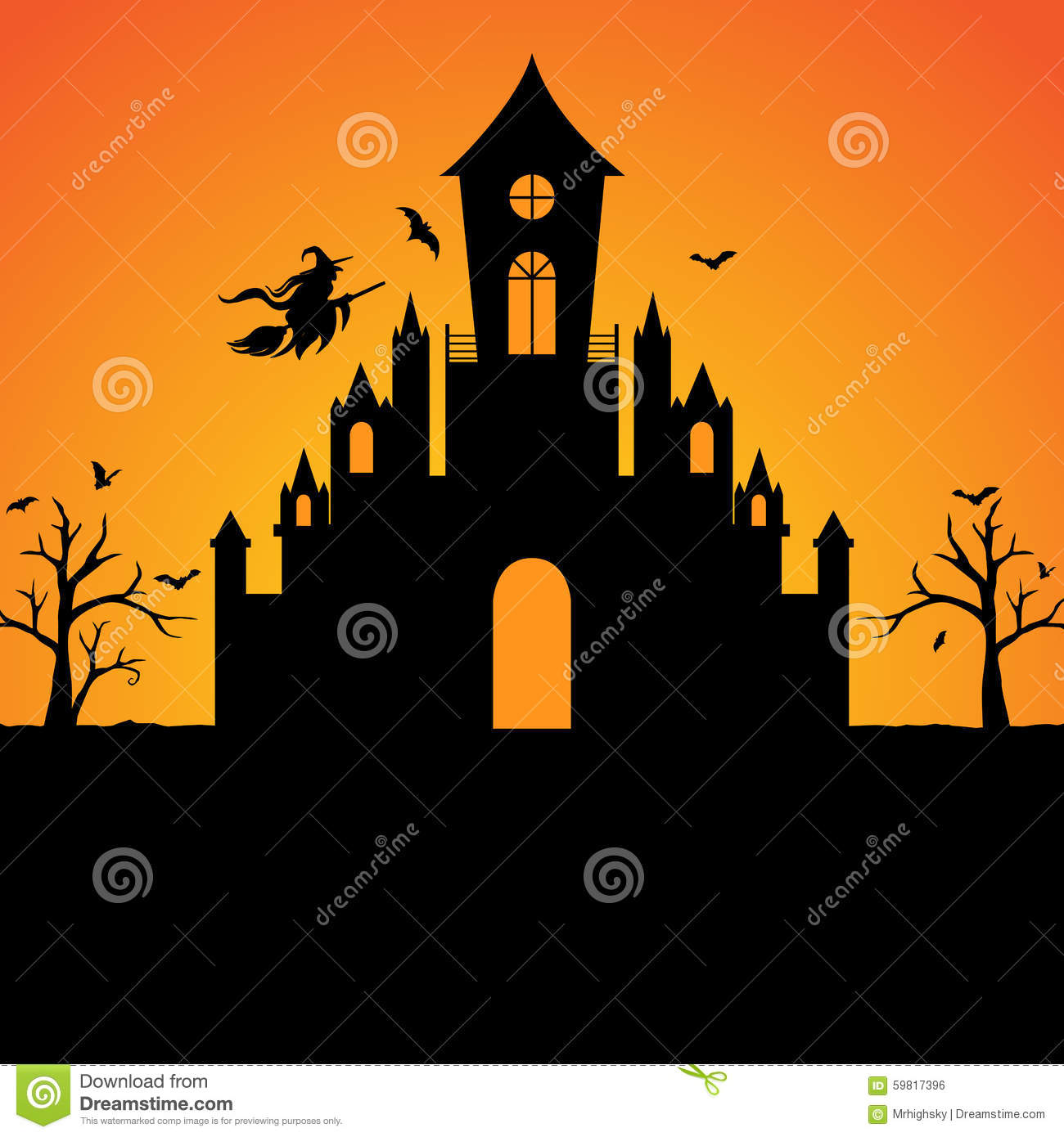 halloween witch castle silhouette background stock vector image 59817396. Black Bedroom Furniture Sets. Home Design Ideas