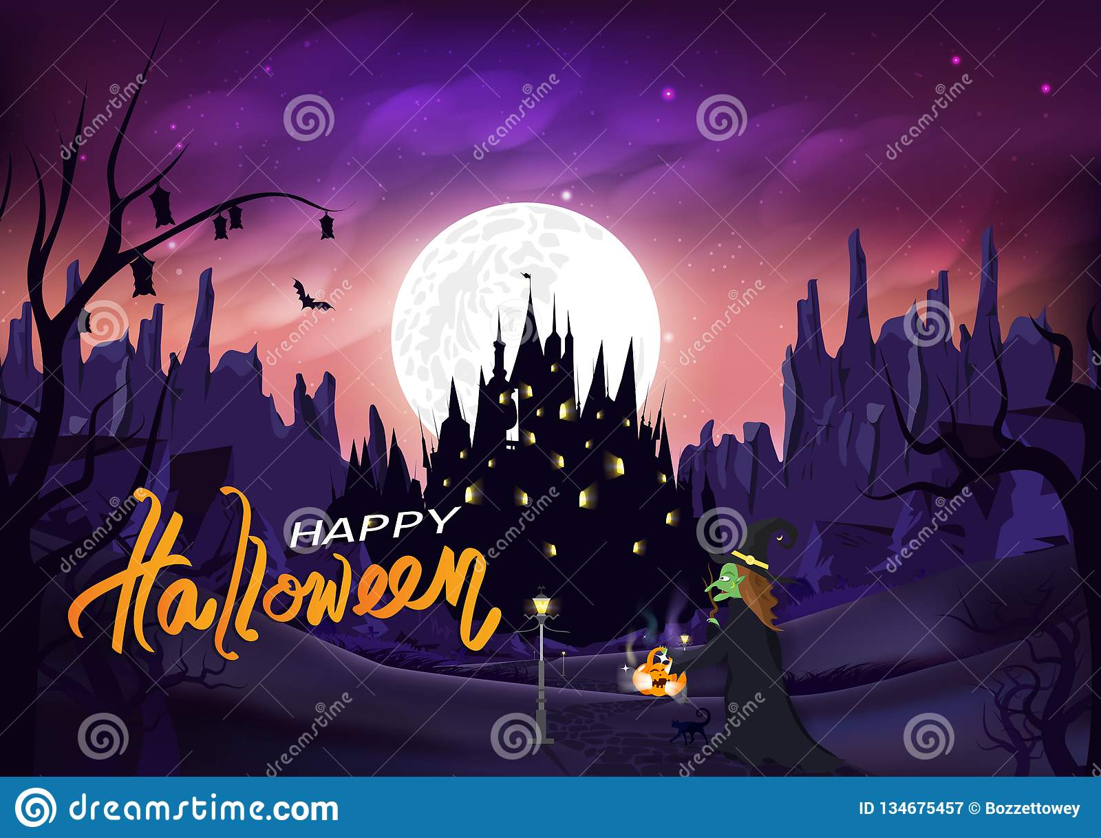 Halloween, witch and cat walk on the road to castle, magic and pumpkin, Jack-O-Lantern, fantasy miracle silhouette night scene,