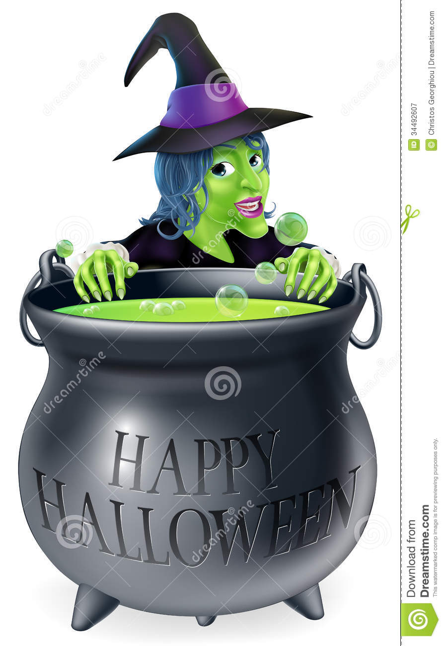 Halloween Witch And Cauldron Royalty Free Stock