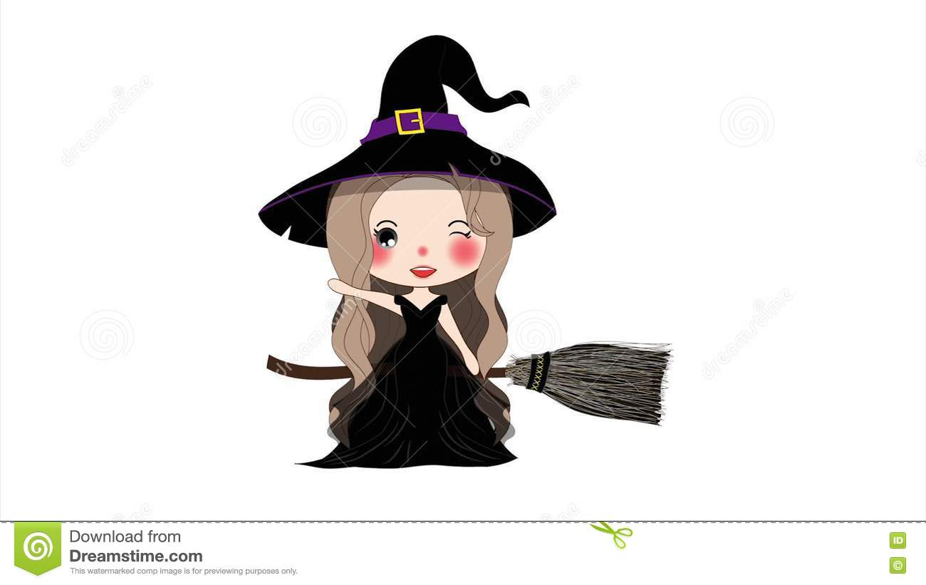 halloween witch flying with broom and hat. beautiful young woman on