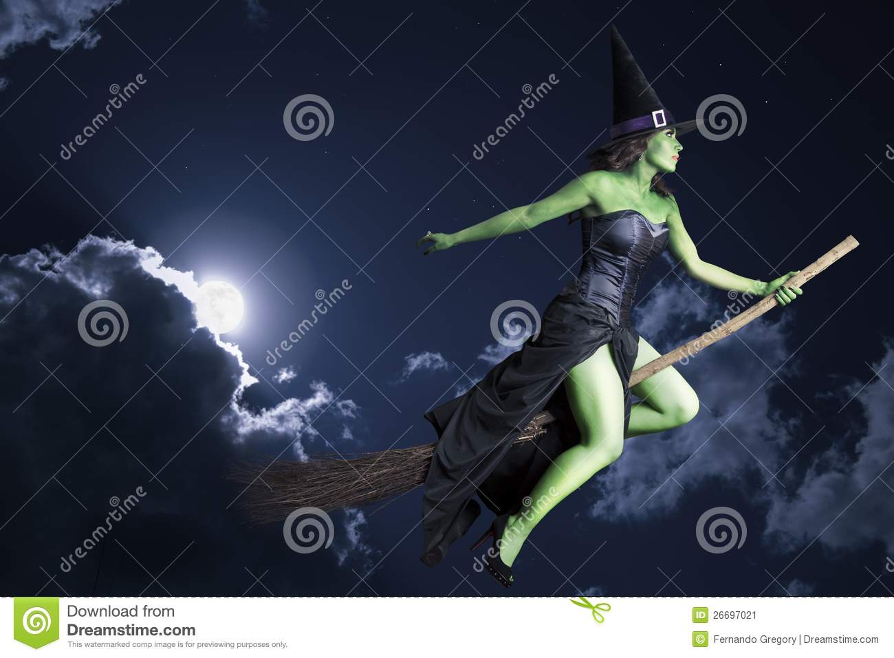 halloween witch flying on broomstick stock image - Halloween Which